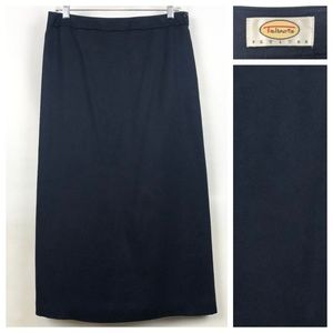 Talbots navy ankle length silk wool blend A-line